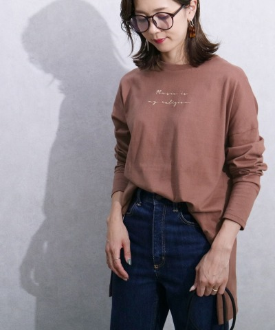 プリントロゴ長袖Tシャツ